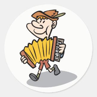 Klavier-Akkordeon-Spieleraufkleber, Runder Aufkleber