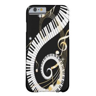 Klavier-Schlüssel und goldener Musiknoten Barely There iPhone 6 Hülle