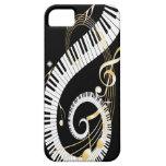 Klavier-Schlüssel und goldener Musiknoten iphone5 iPhone 5 Hülle
