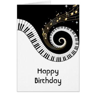 Klavier-Schlüssel-und GoldMusiknoten-Geburtstag Karte