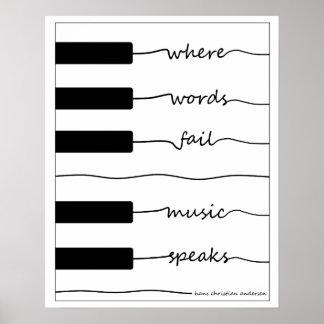 Klavier-Tastatur-Plakat mit inspirierend Zitat Poster