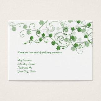 Klee-irische Hochzeits-Empfangs-Karte Visitenkarte