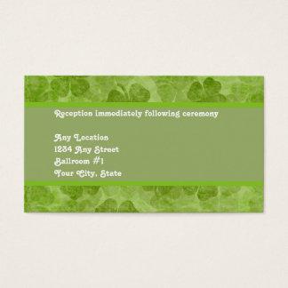 Kleeblatt-grüne irische Hochzeits-Empfangs-Karte Visitenkarte