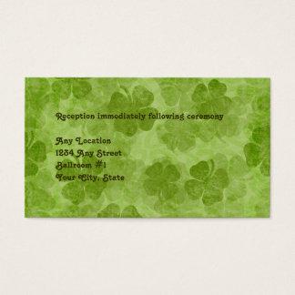 Kleeblatt-irische Hochzeits-Empfangs-Karte Visitenkarte