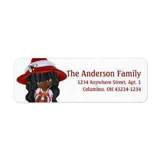Kleine Afroamerikaner-Weihnachtshexe Kleiner Adressaufkleber