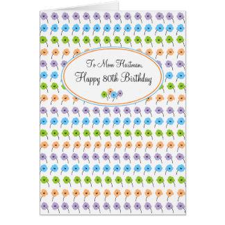 Kleine Blumen Glu0026#252;cklicher 80. Geburtstag Karte