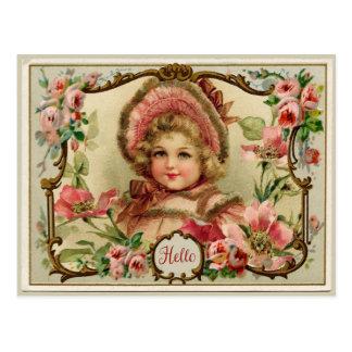 Kleine Dame Vintage Reproduction Postcard Postkarte
