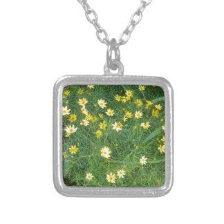 Kleine gelbe Blumen mit dem Grün Versilberte Kette