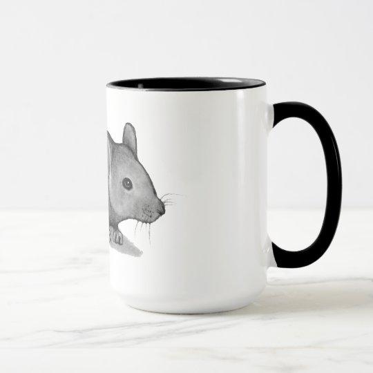 Kleine graue Maus im Bleistift: Realismus-Kunst Tasse