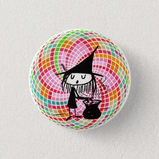 kleine Hexe und heilige Geometrie Runder Button 3,2 Cm