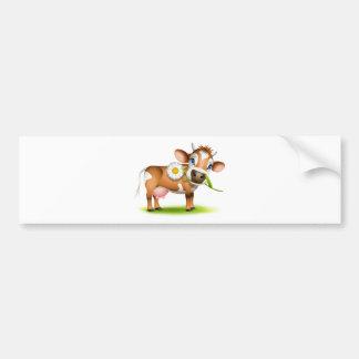 Kleine Jersey-Kuh, die Gänseblümchen isst Autoaufkleber
