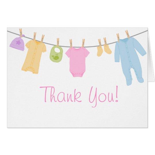 Kleine Kleidungs-Babyparty danken Ihnen Karten