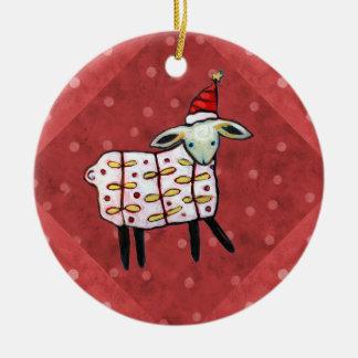 Kleine Lamm-Weihnachtsbaum-Verzierung Keramik Ornament