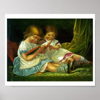 Kleine Mädchen, die Vintage Illustration lesen Poster