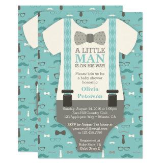 Kleine Mann-Baby-Duschen-Einladung, aquamarin, TAN Karte