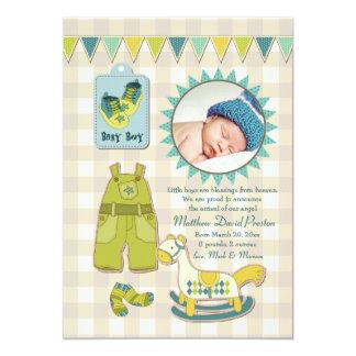 Kleine Mann-Foto-Geburts-Mitteilung Karte