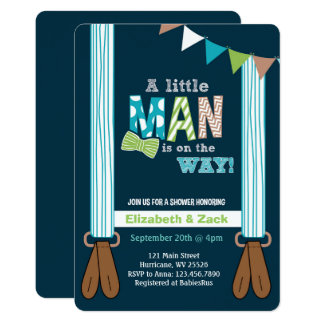 Kleine Mann-Hosenträger-Babyparty-Einladung 12,7 X 17,8 Cm Einladungskarte