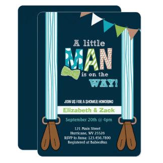 Kleine Mann-Hosenträger-Babyparty-Einladung Karte