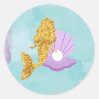 Kleine Meerjungfrau unter den Runder Aufkleber