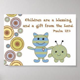 Kleine Monster-christliches Bibel-Vers-Plakat Poster