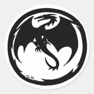 Kleine runde Aufkleber des schwarzen Drachen
