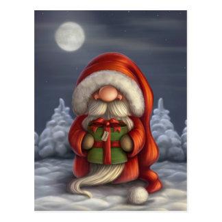 Kleine Sankt mit einem Geschenk Postkarte