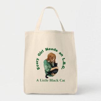 Kleine schwarze Katzen-Lebensmittelgeschäft-Tasche Tragetasche