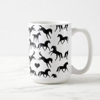 Kleine schwarze Pferdekaffee-Tasse Kaffeetasse