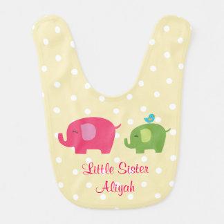 Kleine Schwester-Elefant-Vogel-Baby-Schellfisch Babylätzchen