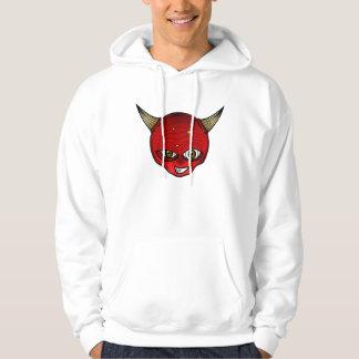 Kleine Teufel-Cartoon-Kopf-Gesichts-Horn-Grafik Hoodie