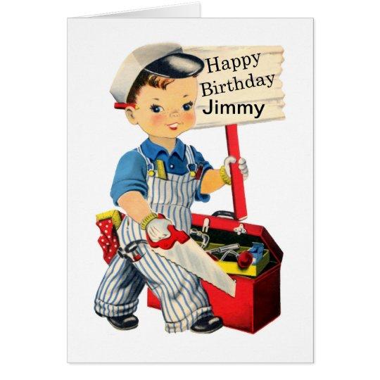 Kleine Tischler-Geburtstagskarte personifizieren Grußkarte