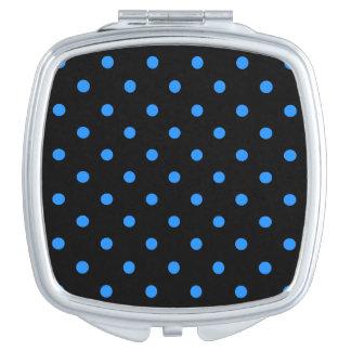 Kleine Tupfen - Dodger-Blau auf Schwarzem Taschenspiegel