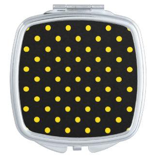 Kleine Tupfen - goldenes Gelb auf Schwarzem Taschenspiegel