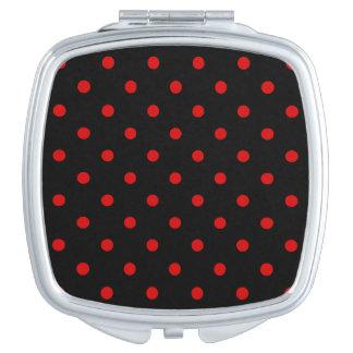 Kleine Tupfen - Rosso Corsa auf Schwarzem Taschenspiegel