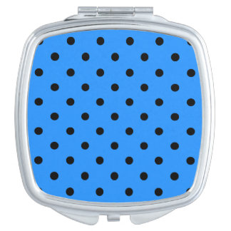 Kleine Tupfen - Schwarzes auf Dodger-Blau Taschenspiegel