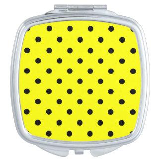 Kleine Tupfen - Schwarzes auf Gelb Taschenspiegel