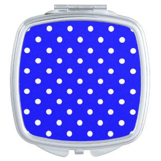 Kleine Tupfen - Weiß auf Blau Taschenspiegel