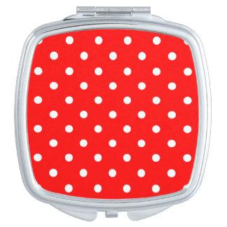 Kleine Tupfen - Weiß auf Rot Taschenspiegel