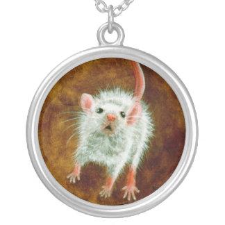 Kleine weiße Mäusehalskette Versilberte Kette