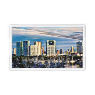 Kleiner Acrylbehälter - Honolulu-Skyline und Acryl Tablett