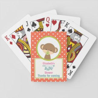 Kleiner Brown-Affe mit Schnuller-Baby-Dusche Spielkarten
