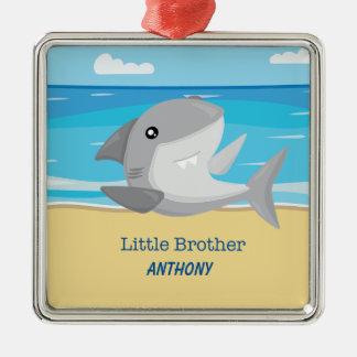 Kleiner Bruder-Haifisch auf Strand-Verzierung Silbernes Ornament