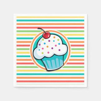 Kleiner Kuchen; Helle Regenbogen-Streifen Servietten