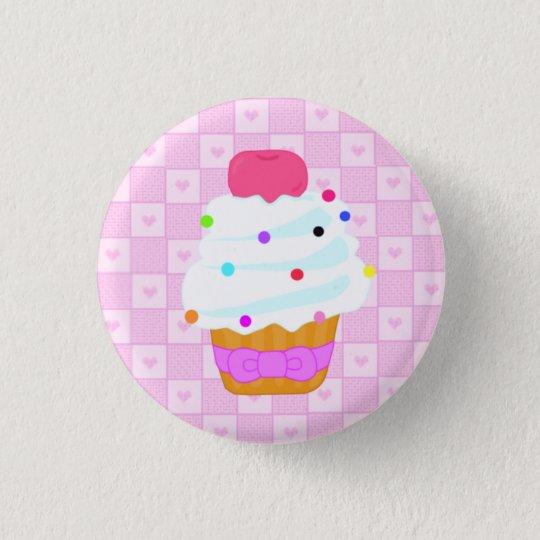 Kleiner Kuchen mit Kirsche! Runder Button 2,5 Cm