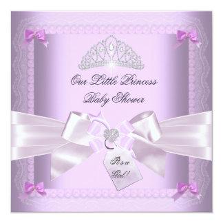 Kleiner Mädchen-Lavendel Prinzessin-Babyparty Quadratische 13,3 Cm Einladungskarte