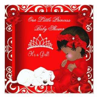 Kleiner Mädchen-Rot-Damast Prinzessin-Babyparty Quadratische 13,3 Cm Einladungskarte