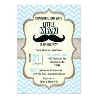 Kleiner Mann ist auf seiner Schnurrbart-Babyparty Karte