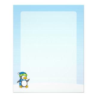Kleiner Pinguin, der auf Schnee geht 11,4 X 14,2 Cm Flyer