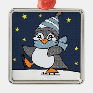 Kleiner Pinguin Quadratisches Silberfarbenes Ornament