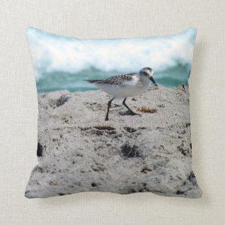 Kleiner Vogel auf der Küste Kissen